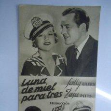 Cine: LUNA DE MIEL PARA TRES 1934 CON PUBLICIDAD DEL CINE ESPAÑA DE LUGO CARTULINA DE LA PELÍCULA LUNA DE. Lote 205529987
