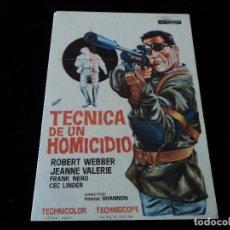Cine: TÉCNICA DE UN HOMICIDIO, 1966. ROBERT WEBBER JEANNE VALERIE CINE BAHIA. Lote 205538577
