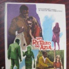 Cine: UN RETAZO DE AZUL - FOLLETO MANO ORIGINAL - SIDNEY POITIER SHALLEY WINTERS ELIZABETH HARTMAN METRO. Lote 205570242