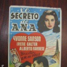 Cine: EL SECRETO DE ANA - FOLLETO MANO ORIGINAL YVONNE SANSON IRENE GALTER ALBERTO FARNESE FARO LIGHTHOUSE. Lote 205572255