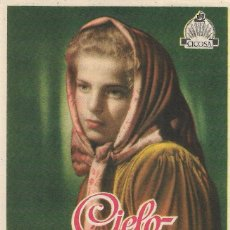 Cine: PN - PROGRAMA DE CINE - CIELO SOBRE EL PANTANO. MARIA GORETTI - CINE ECHEGARAY (MÁLAGA) - 1949.. Lote 205577145