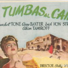 Cine: PN - PROGRAMA DE CINE - CINCO TUMBAS AL CAIRO - ANNE BAXTER, ERICH VON STROHEIM - CINE GOYA (MÁLAGA). Lote 205579110