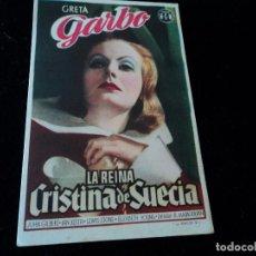 Cine: FOLLETO DE MANO ORIGINAL LA REINA CRISTINA DE SUECIA GRETA GARBO LIDO 1945. Lote 205644660