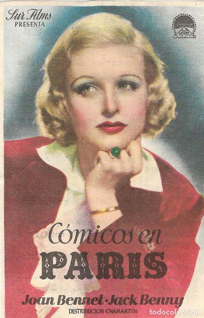 PN - PROGRAMA DE CINE - COMICOS EN PARIS - JOAN BENNET, JACK BENNY - TEATRO CERVANTES (MÁLAGA)- 1938 (Cine - Folletos de Mano - Musicales)