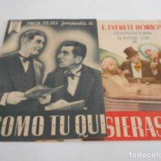 Cine: 5 - FOLLETO DE CINE - CON PUBLICIDAD - CINE CALATRAVA -- COMO TU QUIERAS SER. Lote 205691980