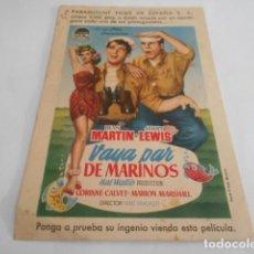 Cine: 5 - FOLLETO DE CINE - CON PUBLICIDAD - CINE - VAYA PAR DE MARINOS. Lote 205692345