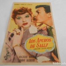 Cine: 5 - FOLLETO DE CINE - CON PUBLICIDAD - CINE REAL CINEMA - LOS APUROS DE SALLY. Lote 205693182