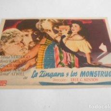 Cine: 5 - FOLLETO DE CINE - CON PUBLICIDAD - CINE ECHEGARAY (CREO MALAGA ) LA ZINGARA Y LOS MONSTRUOS. Lote 205693348