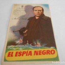 Cine: 5 - FOLLETO DE CINE - CON PUBLICIDAD - CINE CERVANTES - - EL ESPIA NEGRO. Lote 205693500