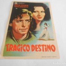 Cine: 5 - FOLLETO DE CINE - CON PUBLICIDAD - CINE CERVANTES - TRAGICO DESTINO. Lote 205693552