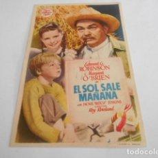 Cine: 5 - FOLLETO DE CINE - CON PUBLICIDAD - CINE AVELLANEDA - EL SOL SALE MAÑANA. Lote 205693703