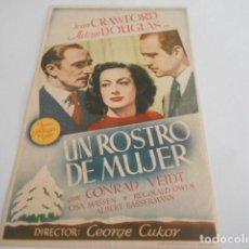 Cine: 5 - FOLLETO DE CINE - CON PUBLICIDAD - CINE ESPAÑOL Y PALACIO - UN ROSTRO DE MUJER. Lote 205694187