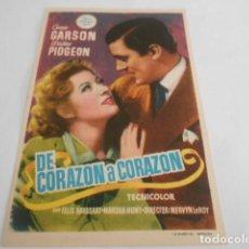 Cine: 5 - FOLLETO DE CINE - CON PUBLICIDAD - CINE CONDAL - DE CORAZON A CORAZON. Lote 205694508