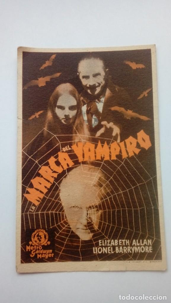 FOLLETO DE CINE LA MARCA DEL VAMPIRO BASTANTE ANTIGUO Y RARO DE 1940 EN CARTON (Cine - Folletos de Mano - Terror)