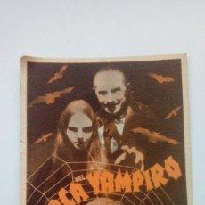 Cine: FOLLETO DE CINE LA MARCA DEL VAMPIRO BASTANTE ANTIGUO Y RARO DE 1940 EN CARTON. Lote 205816446