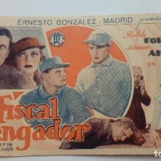 Folhetos de mão de filmes antigos de cinema: FOLLETO DE CINE EL FISCAL VENGADOR CON RALPH FORBES Y ADRIENNE AMES EN CARTON BASTANTE ANTIGUO. Lote 205820830