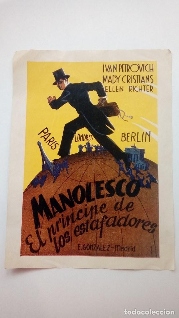 FOLLETO DE CINE MANOLESCO EL PRINCIPE DE LOS ESTAFADORES CON IVAN PETROVICH (Cine - Folletos de Mano - Suspense)
