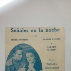 Cine: FOLLETO DE CINE SEÑALES EN LA NOCHE CON SYBILLE SCHMITZ Y HANNES STELZER 1941. Lote 205821640
