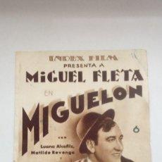 Cine: FOLLETO DE CINE MIGUELON EL ULTIMO CONTRABANDISTA INDEX FILM PRESENTA A MIGUEL FLETA. Lote 205823182