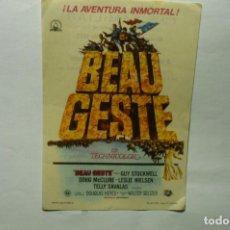 Flyers Publicitaires de films Anciens: PROGRAMA BEAU GESTE -GUY STOCKWELL PUBLICIDAD. Lote 205854911