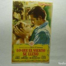Cine: PROGRAMA LO QUE EL VIENTO SE LLEVO -C.GABLE PUBLICIDAD PRINCIPAL MONTBLANCH. Lote 205897237