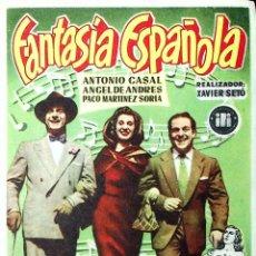 Cine: PROGRAMA DE MANO. FANTASÍA ESPAÑOLA. ¡RIÁSE CON MÚSICA! (XAVIER SETÓ). ANTONIO CASALS. Lote 206147843