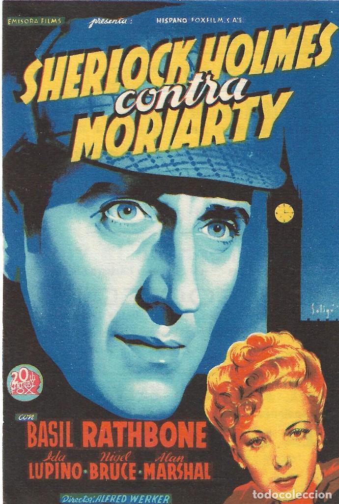 PROGRAMA DE CINE - SHERLOCK HOLMES CONTRA MORIARTY - BASIL RATHBONE - CINE DUQUE (MÁLAGA) - 1939. (Cine - Folletos de Mano - Suspense)