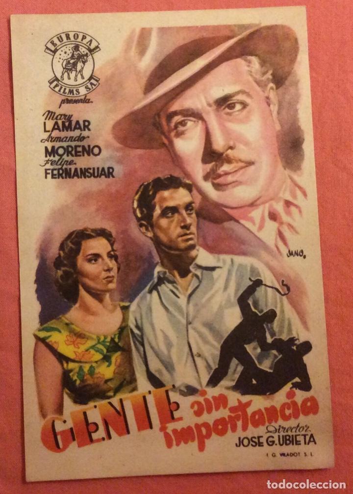 FOLLETO DE MANO GENTE SIN IMPORTANCIA. MARY LAMAR. SIN PUBLICIDAD (Cine - Folletos de Mano - Suspense)