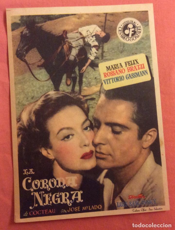 FOLLETO DE MANO LA CORONA NEGRA. MARIA FELIX. SIN PUBLICIDAD (Cine - Folletos de Mano - Suspense)