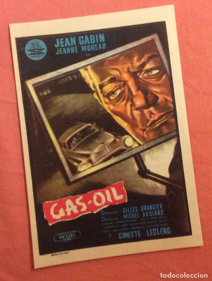 FOLLETO DE MANO GAS- OIL. JEAN GABIN. PUBLICIDAD TEATRO NACIONAL MELILLA (Cine - Folletos de Mano - Suspense)