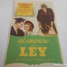 Cine: 10 - FOLLETO CINE - CON PUBLICIDAD - CINE ALKAZAR - AL AMPARO DE LA LEY. Lote 206238546