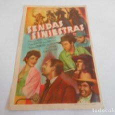 Cine: 10 - FOLLETO CINE - CON PUBLICIDAD - CINE GOYA - SENDAS SINIESTRAS. Lote 206238881
