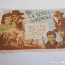 Cine: 10 - FOLLETO CINE - CON PUBLICIDAD - CINE GOYA - LA SENDA DE LOS HEROES. Lote 206239133