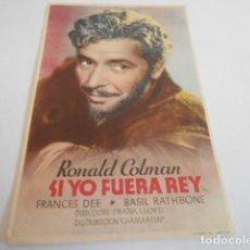 Cine: 10 - FOLLETO CINE - CON PUBLICIDAD - CINE RIALTO - SI YO FUERA REY. Lote 206239413
