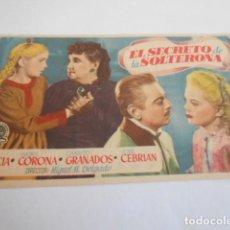Cine: 10 - FOLLETO CINE - CON PUBLICIDAD - CINE CAPITOL - EL SECRETO DE LA SOLTERONA. Lote 206239730