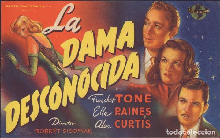 PROGRAMA SENCILLO DE LA DAMA DESCONOCIDA (1944) - TEATRO CALDERÓN DE ALCOY (Cine - Folletos de Mano - Suspense)
