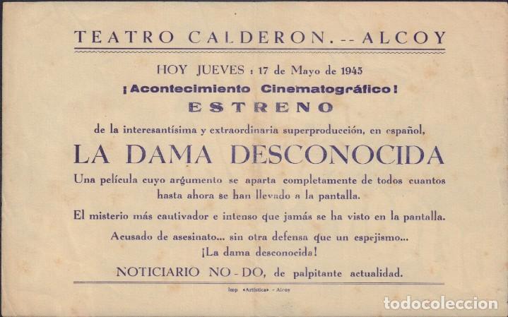 Cine: Programa sencillo de LA DAMA DESCONOCIDA (1944) - Teatro Calderón de Alcoy - Foto 2 - 206258823