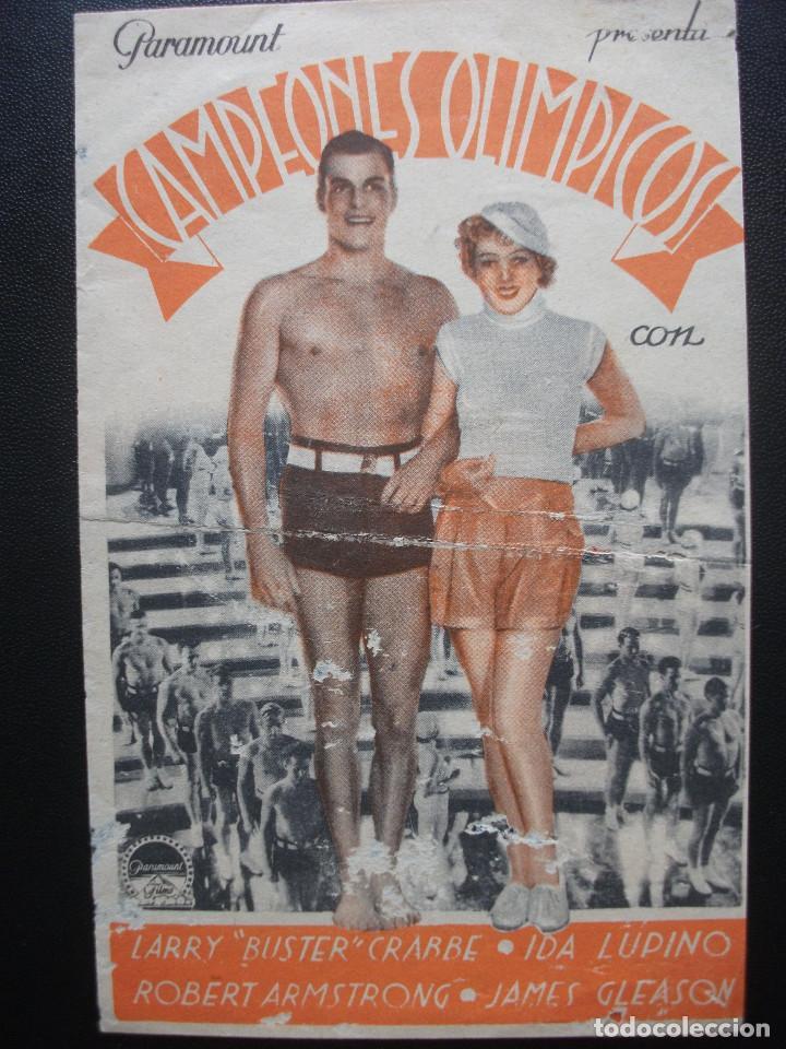 CAMPEONES OLÍMPICOS, BUSTER CRABBE, CINE POPULAR, CENTRE VILASSANÉS, 1935 (Cine - Folletos de Mano - Comedia)
