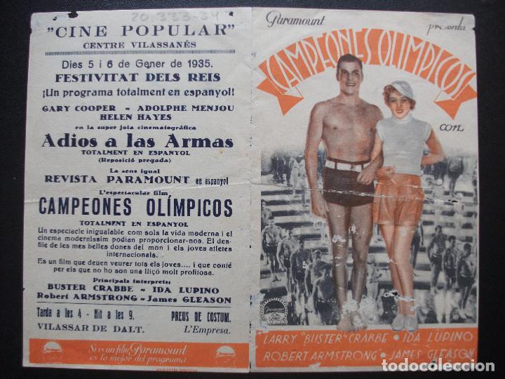 Cine: CAMPEONES OLÍMPICOS, BUSTER CRABBE, CINE POPULAR, CENTRE VILASSANÉS, 1935 - Foto 3 - 206306670