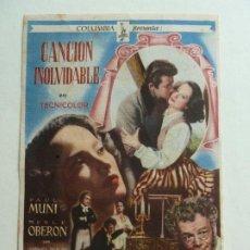 Folhetos de mão de filmes antigos de cinema: PROGRMA. CANCIÓN INOLVIDABLE. S/P. Lote 206317918