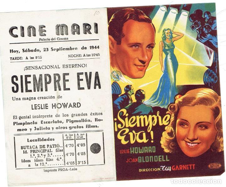 SIEMPRE EVA, FOLLETO DE MANO, DOBLE DE 1944 (Cine - Folletos de Mano - Comedia)