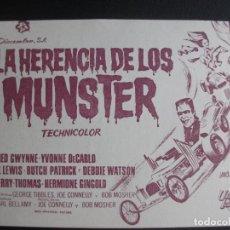Flyers Publicitaires de films Anciens: LA HERENCIA DE LOS MUNSTER, YVONNE DE CARLO, CINE GLORIA DE ELDA, 1957. Lote 206411602