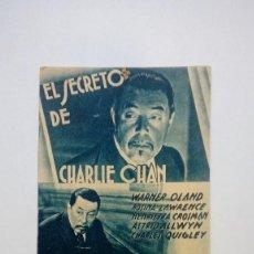 Cine: FOLLETO DE CINE EL SECRETO DE CHARLIE CHAN CON WARNER OLAND DE LA 20TH CENTURY FOX. Lote 206457692