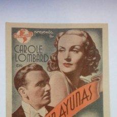 Cine: FOLLETO DE CINE AMAR EN AYUNAS CON CAROLE LOMBARD DE 1941 Y PUBLICIDAD. Lote 206458493