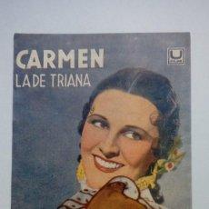 Cine: FOLLETO DE CINE CARMEN LA DE TRIANA CON IMPERIO ARGENTINA U FILMS 1940 CON PUBLICIDAD. Lote 206459476