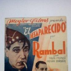 Cine: FOLLETO DE CINE EL DESAPARECIDO POR RAMBAL CON TRINI MOREN MEYLER FILMS PROGRAMA DOBLE. Lote 206459560