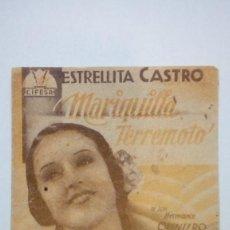 Cine: FOLLETO DE CINE MARIQUILLA TERREMOTO CON ESTRELLITA CASTRO DE CIFESA PROGRAMA DOBLE. Lote 206459661