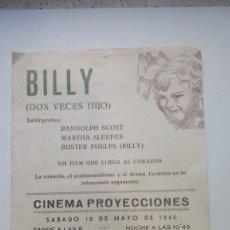 Cine: BILLY DOS VECES HIJO CON RALDOLPH SCOTT Y MARTHA SLEEPER PROGRAMA DOBLE. Lote 206460206