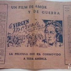 Cine: FOLLETO DE CINE LA VIRGEN MORENA ESPECIE DE HOJA CON PUBLICIDAD DE LA PELICULA DE 1945. Lote 206460478