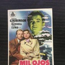 Cine: MIL OJOS TIENE LA NOCHE - PROGRAMA DE CINE BADALONA C/P 1951. Lote 206469742
